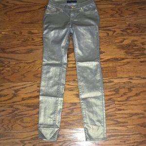 Rock & Republic Gold Metallic Skinny Jeans